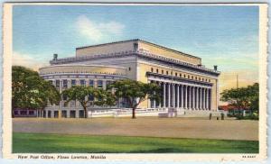 MANILA, PHILIPPINES   Plaza Lawton POST OFFICE  ca 1940s Linen  Postcard