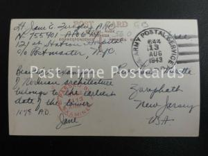 1943 Postmark Stamp U S Army Postal Service APO 644 PASSED by EXAMINER base 1113