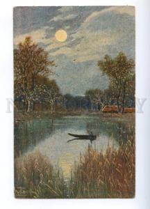177137 Autumn FISHING Fisherman Boat by WEILHEIN old FELDPOST