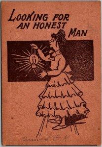 Vintage Comic / Romance Postcard Looking for an Honest Man 1911 Cancel