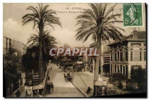 Old Postcard Hyeres La Poste and the Boulevard des Palmiers