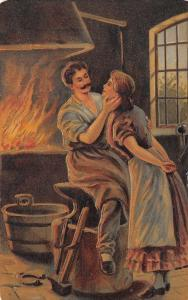 Romance~Gentle Blacksmith With Wife~Force~Hammer~Anvil~Emboss~GA Novelty Art