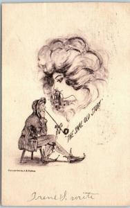 Artist-Signed COBB SHINN Postcard Pretty Lady's Face in Smoke Same Old Story