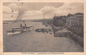 Bonn am Rhein Landebruecke und Rheinpromenade Schiff Boats River