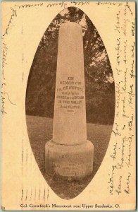 Upper Sandusky, Ohio Postcard Colonel Crawford's Monument 1909 Cancel