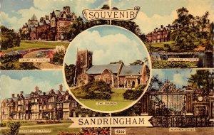 Souvenir Sandringham The Church The Lake Norwich Gates House Gardens Postcard