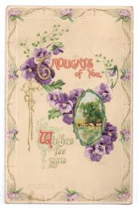 Thoughts of You Pansies Gilded Embossed PS Dresden Postcard