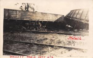 Illinois Central Boxcars~Train Derailed~Bassett Wreck Morton? RPPC 1916 #2 of 3