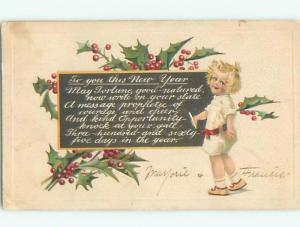 Divided-Back NEW YEAR SCENE Great Postcard W7426