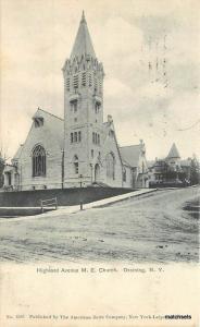 1905 Ossining New York Highland Avenue ME Church American postcard 6629