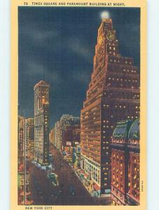 Unused Linen PARAMOUNT BUILDING AT TIMES SQUARE New York City NY F0734