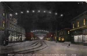 Michigan Grand Rapids West Leonard Street By Night