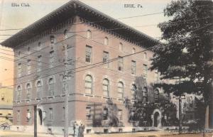 Erie Pennsylvania Elks Club Street View Antique Postcard K69211