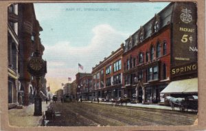 P1354 antique postcard unused horse wagons trollies flags etc springfield mass