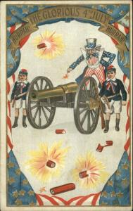 4th Fourth of July Uncle Sam & Boy Fire Cannon SB 258 c1910 Postcard