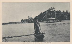 Native man in canoe , FAISI , Shortland Islands , Solomon Group , 1910-30s