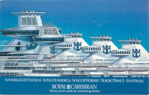 Royal Caribbean Viking Crown Lounges Sovereign Song Norway Nordic Sun Postcard