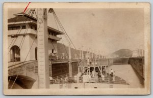 Panama Locks~The Pedro Miquel~Sailors On Ship~RPPC Real Photo Postcard WWI