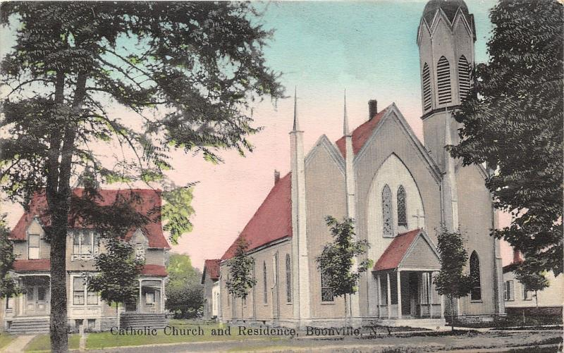 Boonville New York~Catholic Church & Residence~1911 Postcard