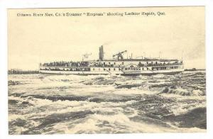 Steamer/Ship, Ottawa River Nav. Co.'s Steamer Empress Shooting Lachine Rapi...
