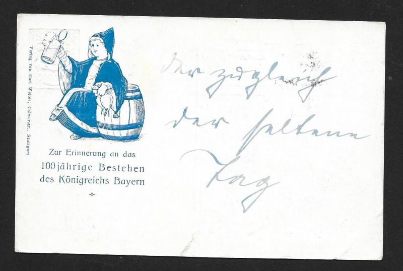 BAVARIA Stamps on Postcard Child w/Beer Jubilee used c1912