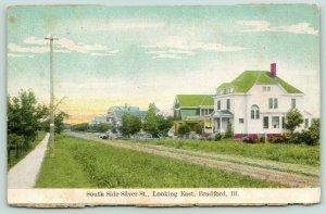 Bradford Illinois~South Side Silver Street~Homes on Grass Road~Sidewalk~c1910