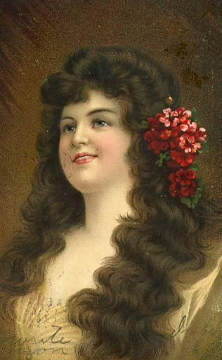 Lady with red flowers in hair - Artist Signed: Asti