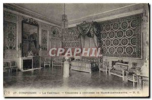 Old Postcard Compiegne Chateau Bedroom Marie Antoinette