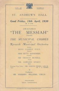 The Messiah Norwich Betty Bannerman 1930 Classical Theatre Programme