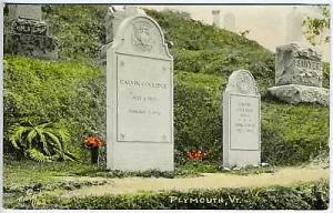 Coolidge Headstone Plymouth VT Tinted RPPC Postcard