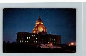 Providence RI-Rhode Island, State House At Night, Chrome Postcard