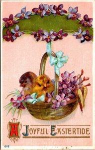 A Joyful Eastertide - Embossed Chickens Chicks - Easter Vintage Postcard