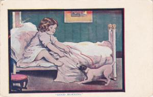 Good Morining, Jack Russel dog pulling bed sheets to wake up little girl, 0...