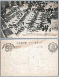 WWI FRENCH ARMY MUSEUM ANTIQUE RED CROSS CANCEL POSTCARD CAPTURED CANNONS