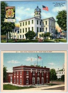 2 Postcards THOMASVILLE, Georgia GA ~ THOMAS COUNTY COURT HOUSE & Post Office