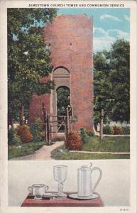 Virginia Jamestown Church Tower And  Communion Service