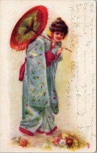 Miss Dainty 5535 Asian Woman Art Portrait c1922 Bunkie LA Cancel Postcard F36