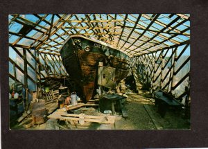 ME Schooner Isaac H Evans Perry & Small Shipyard Bath Museum Maine Postcard