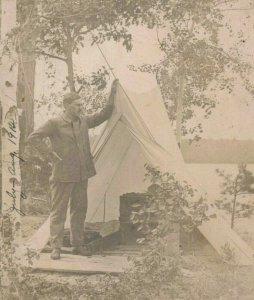Circa 1913 Man Camping Standing Tent in Woods by Lake Real Photo RPPC 10C1-420