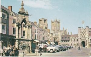 Post Card Somerset WELLS Market Place & Wells Cathedral