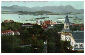 18809  HongKong  1910 Aerial View of  Peak Tramway, Harbour, Kowloon