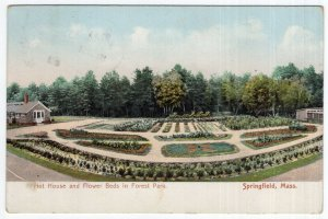 Springfield, Mass, Hot House and Flower Beds in Forest Park
