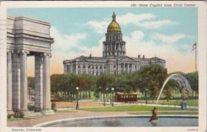 State Capitol Building From Civic Center Denver Colorado 1945