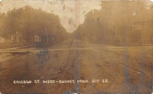 Quincy Michigan~Chicago Street West~Garage Sign~Unpaved Road~c1910 RPPC