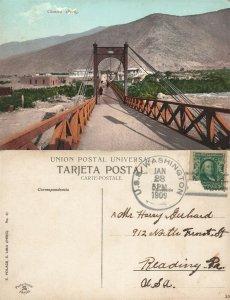 CHOSICA PERU BRIDGE 1909 ANTIQUE POSTCARD