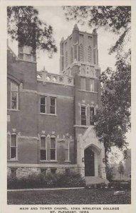 Iowa Mt Pleasant Main and Tower Chapel Iowa Wesleyan College Albertype