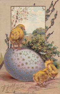 EASTER; Joyful, Chicks playing around dcorated egg, Country scene, Gold det...