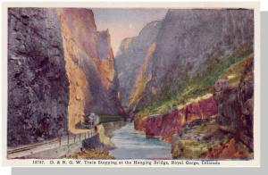 Royal Gorge, Colorado/CO Postcard, Train At Hanging Bridge
