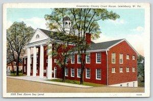 Lewisburg West Virginia~Greenbriar County Court House~Boulder Marker~1939 Linen