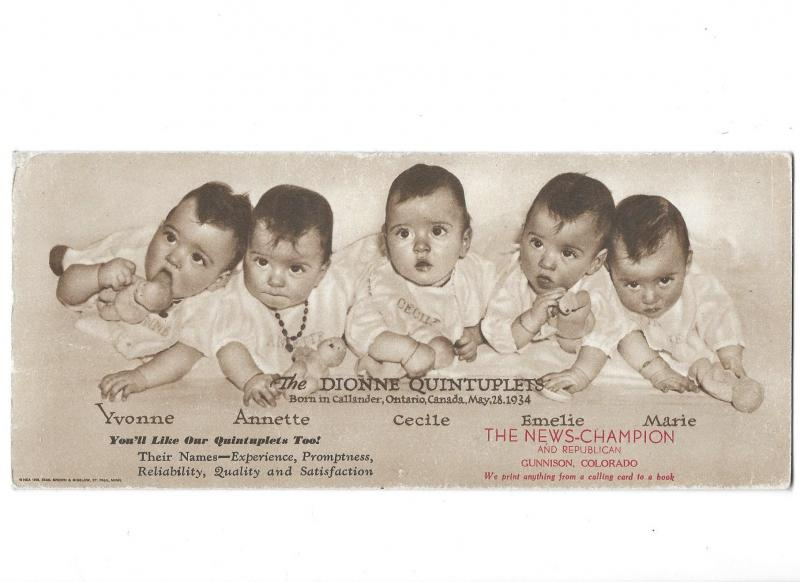 Dionne Quintuplets Born 5-28-1934 Ontario Canada Ink Blotter